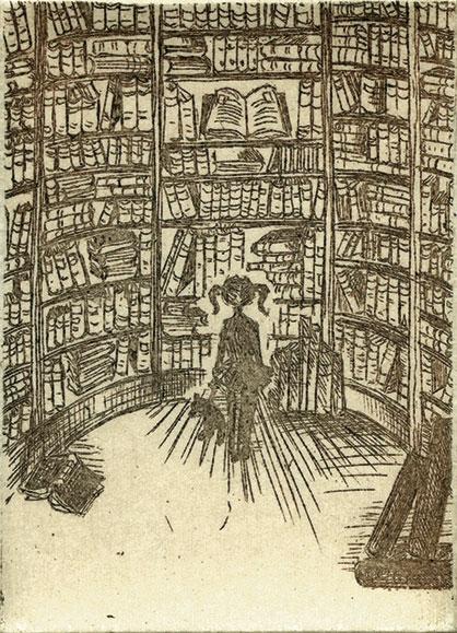 Franziska Deregoski: Marie im Bücherturm, 2015, Strichätzung