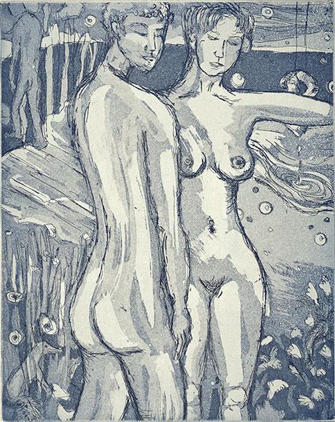 """Anke Bell: """"Zähme mich. Die Leute haben keine Freunde mehr. Die Sprache ist die Quelle der Missverständnisse."""" A. de Saint-Exupéry, 2015, Strichätzung und Aquatinta"""