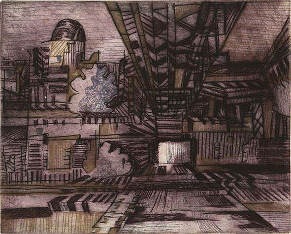 Anke Bell: Kraftwerk-Klingenberg 2, Kaltnadel, 2020