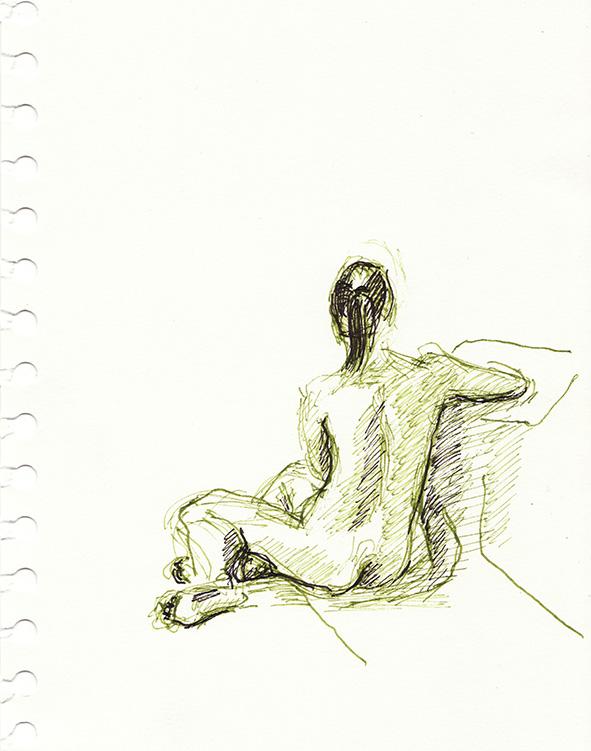 Anne Marei Lepinski: Sitzender Rückenakt 2 (aus dem Skizzenbuch), 2017, Tusche schwarz