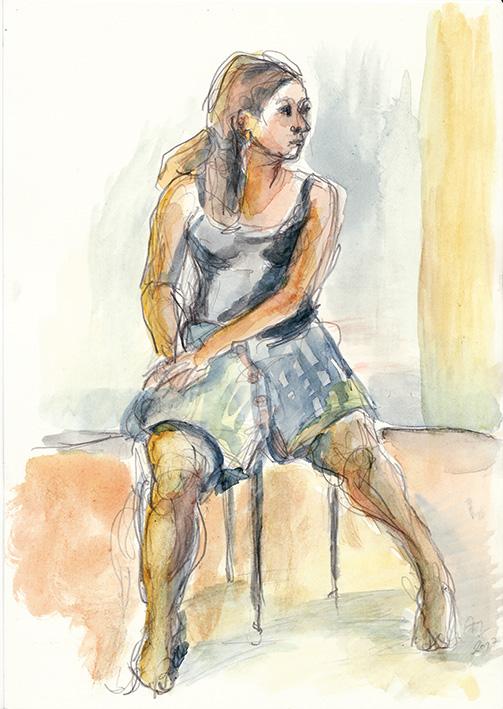 Anne Marei Lepinski: Karo, 2017, Aquarell und Bleistift