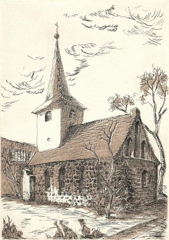Birgit Horota-Müller: Alte Pfarrkirche Lichtenberg, Farbradierung,Strichätzung, Aquatinta