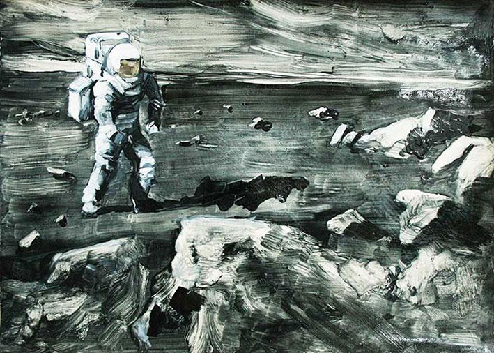 Christine Niehoff: o.T., 2014, Öl auf Papier