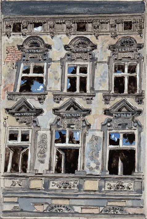 Ekkehard Bartsch: Wartenbergstraße, Fassadendetail, Gebäude, Druckgraphik, Radierung, coloriert, 2007