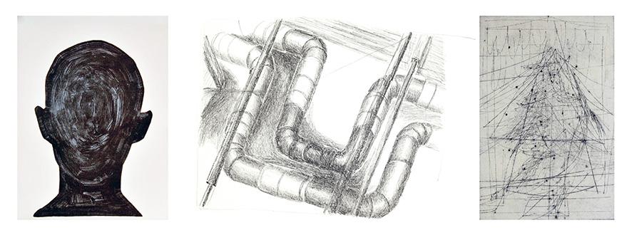 Einladung Experiment-Druckgraphik 2020 - 3 x Graphik Alex Weise . Carolin Bernhofer . Frank Sievers