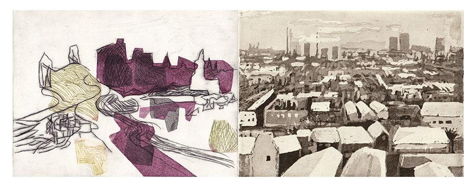 """Einladung Ausstellung """"Künstlerische Zeitspuren"""" - Karolin Hägele: Unterwegs in Lichtenberg XI, 2020 / Peter Hoffmann: Lichtenberg im Winter, 1983"""