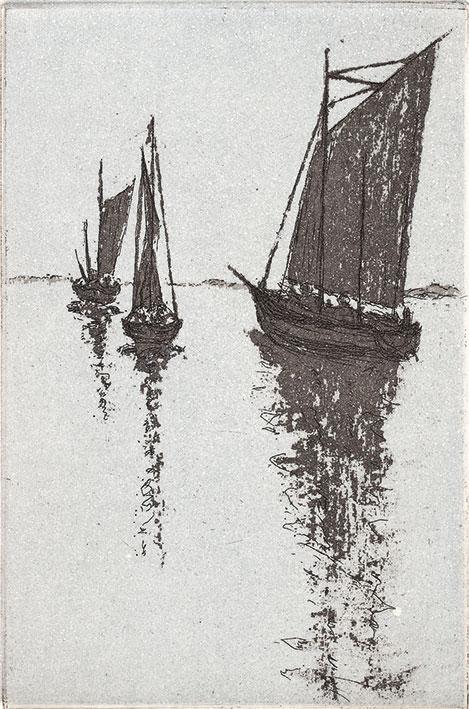 Hilmar Grey:  Zeesen-Boote, 2015, Reservage und Aquatinta