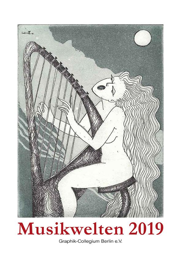 """Kunstkalender 2019 """"Musikwelten"""", Deckblatt Mariola Müller: Harfina"""