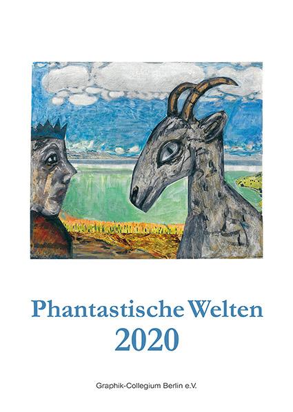 "Kunstkalender 2020  ""Phantastische Welten"", Deckblatt: Brigitte Lingertat,  Seltsame Begegnung, Collage, 2015"