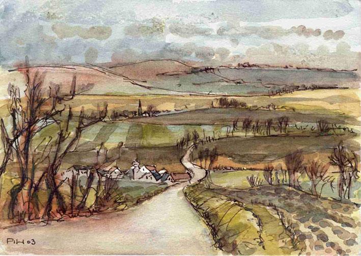 Peter Hoffmann: Böhmische Landschaft, Aquarell, 2003