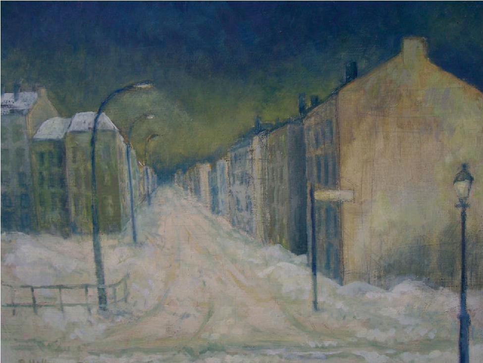 Peter Hoffmann: Winter in der Stadt Lichtenberg, 1979 Öl auf Hartfaser