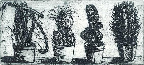 Roswitha Albrecht: Blumenfenster, Stillleben, Radierung