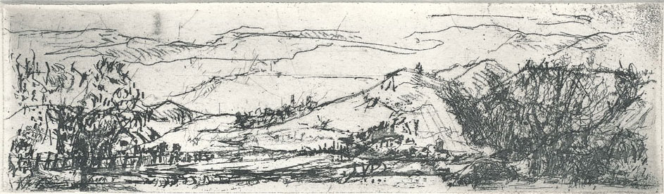 Waltraud Niedziella: Thüringer Landschaft, 2013, Strichätzung
